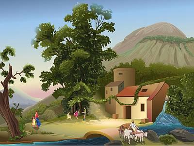 Digital Art - Villege by Prakash Leuva