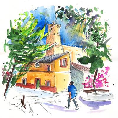 Castle Drawing - Villena 03 by Miki De Goodaboom