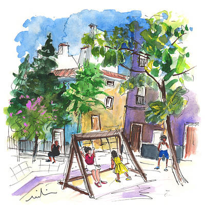 Town Square Drawing - Villena 07 by Miki De Goodaboom