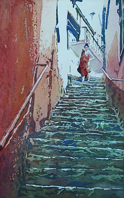 Cinque Terre Painting - Villiage Stairs by Jenny Armitage