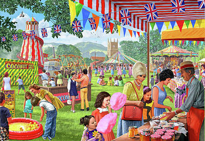 Bunting Painting - Villlage Fete 1960's Version 1 by Steve Crisp