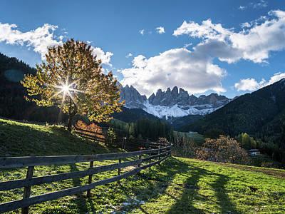 Villnoess Valley In The Dolomites Art Print