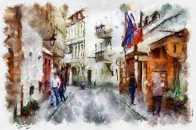 Digital Art - Vilnius Old Street Walk 1 by Yury Malkov