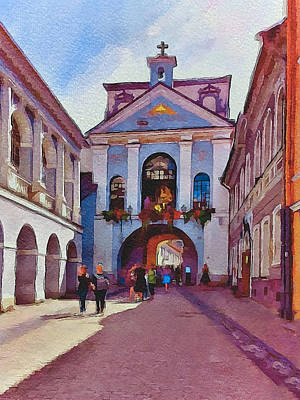 Old Town Digital Art - Vilnius Old Town Golden Gate 1 by Yury Malkov