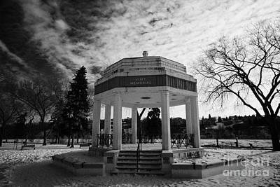 vimy memorial bandshell in snow covered kiwanis memorial park downtown Saskatoon Saskatchewan Canada Art Print by Joe Fox