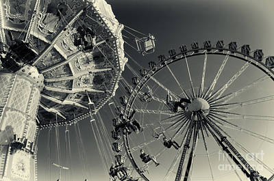 Vintage Carousel And Ferris Wheel Bw At The Octoberfest In Munich Art Print by Sabine Jacobs