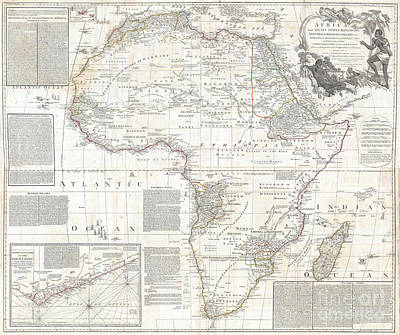 Vinatge Old World Map Of Africa Print by Inspired Nature Photography Fine Art Photography