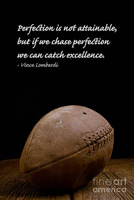 Vince Lombardi On Perfection Art Print by Edward Fielding