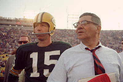 Football Photograph - Vince Lombardi With Bart Starr by Retro Images Archive
