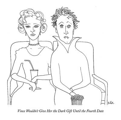 Vampire Drawing - Vince Wouldn't Give Her The Dark Gift by Emily S. Hopkins
