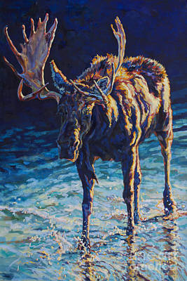 Moose Painting - Vincent by Patricia A Griffin