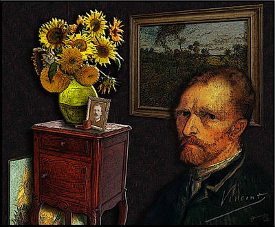 Sunflowers Drawings - Vincent sitting by the Sunflowers with a picture of Theo in his studio by Jose A Gonzalez Jr