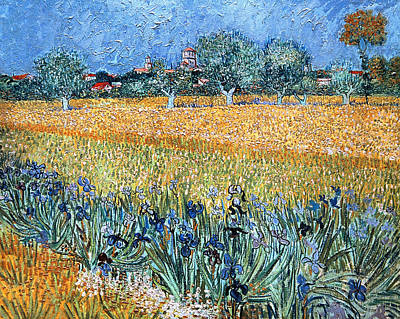 Field With Flowers Near Arles Art Print by Vincent van Gogh