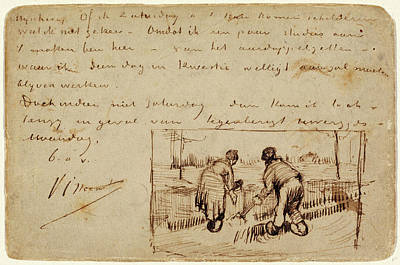 Postcards Drawing - Vincent Van Gogh, Postcard With Two Peasants Digging by Litz Collection