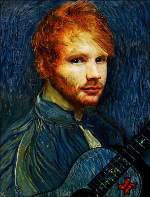 Musicians Drawings - Vincent van Gogh the artist reincarnated as Ed Sheeran the musician by Jose A Gonzalez Jr