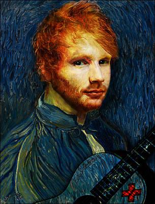 Musicians Drawings - Vincent van Gogh the artist reincarnated as Ed Sheeran the musician by Jose A Gonzalez Jr