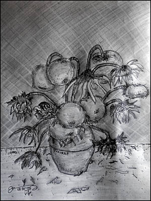 Sunflowers Drawings - Vincents Wilted Sunflowers by Jose A Gonzalez Jr