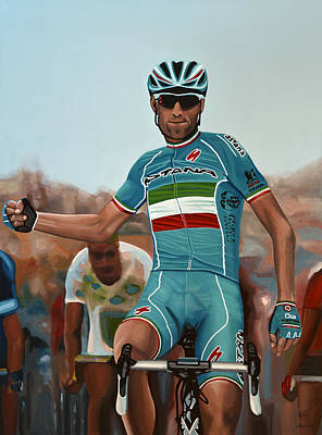 Bicycling Painting - Vincenzo Nibali Painting by Paul Meijering