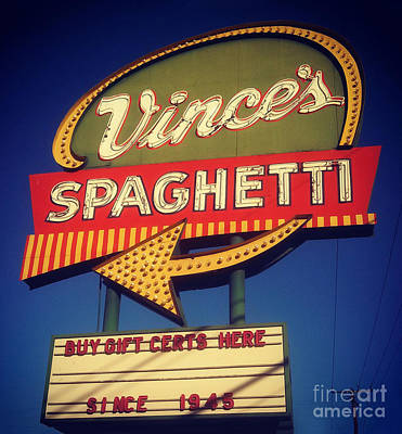 Photograph - Vinces Spaghetti Sign by Gregory Dyer