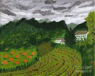Vineyard And Haystacks Under Stormy Sky Art Print by Vicki Maheu