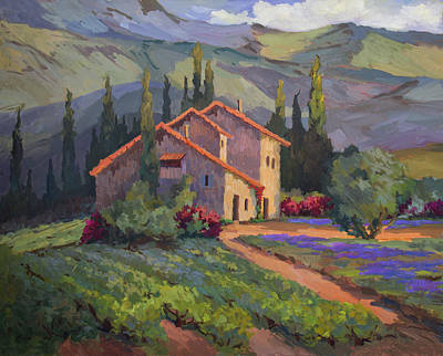 Villa Painting - Vineyard And Lavender In Provence by Diane McClary
