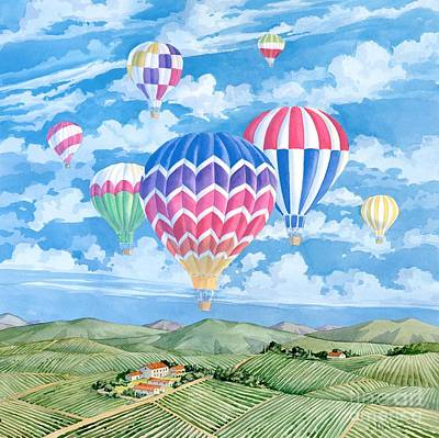 Wine Country Landscape Painting - Vineyard Balloons by Paul Brent