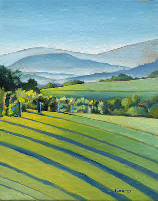 Wine Oil Painting - Vineyard Blue Ridge On Buck Mountain Road Virginia by Catherine Twomey
