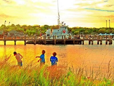 Digital Art - Vineyard Haven Beach Boys - Horizontal 2 by Lyn Voytershark