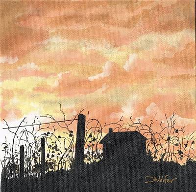 Deserted Painting - Vineyard In Silhouette by David Wolfer