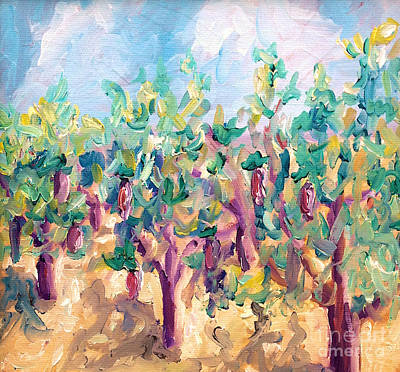 Tuscany Vineyard Oil Painting - Vineyard In The Afternoon Sun by Todd Bandy