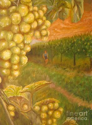 Vineyard Art Painting - Vineyard - Original Oil Painting by Anthony Morretta