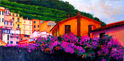 Painting - Vineyards And Blossoms Italy by Michael Tieman