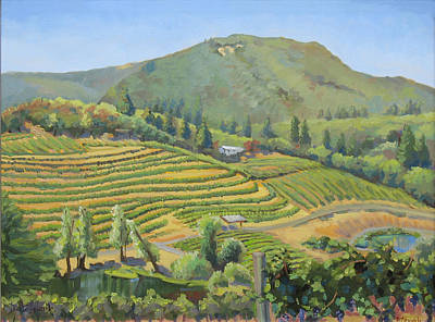 Napa Valley Vineyard Painting - Vineyards In The Mountains by Dominique Amendola