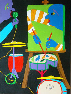 Abstract Drum Painting - Vinny And The Van Goes Three by Pamela Allegretto
