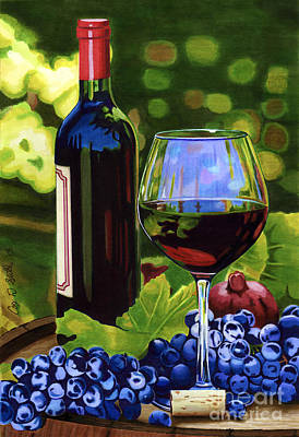 Wine Grapes Drawing - Vino by Cory Still