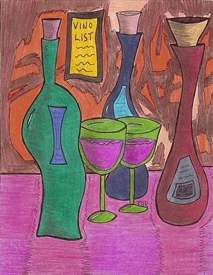 Wine List Painting - Vino List by Ray Ratzlaff
