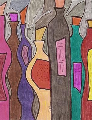 Bottle Of Wine Drawing - Vino  by Ray Ratzlaff