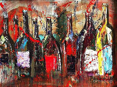 Wine-bottle Painting - Vino Vino Vino by Jodi Monahan