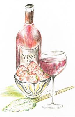 Red Wine Drawing - Vino With Strawberries by Teresa White