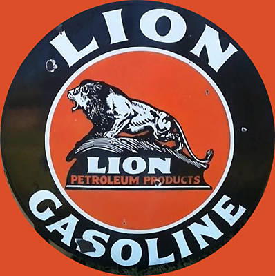 Lion Digital Art - Vintaga Lion Gasoline Metal Sign by Marvin Blaine