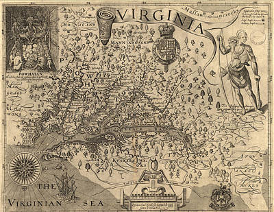 Knowledge Mixed Media - Vintage 1606 Virginia Map by Dan Sproul