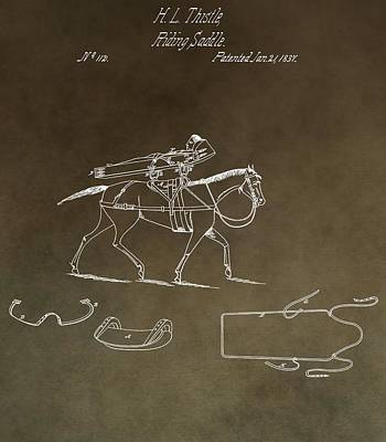 Old West Mixed Media - Vintage 1837 Riding Saddle Patent by Dan Sproul