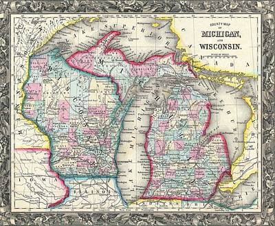 Location Mixed Media - Vintage 1860 Michigan Map by Dan Sproul