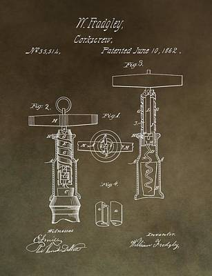 Wine Mixed Media - Vintage 1862 Corkscrew Patent by Dan Sproul