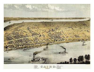 Steamboat Photograph - Vintage 1867 Cairo Illinois Map by Stephen Stookey