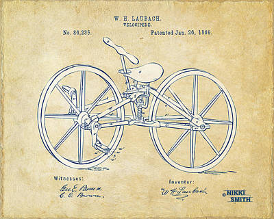 Digital Art - Vintage 1869 Velocipede Bicycle Patent Artwork by Nikki Marie Smith