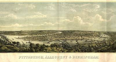 1874 Mixed Media - Vintage 1874 Pittsburgh Aerial Map by Dan Sproul