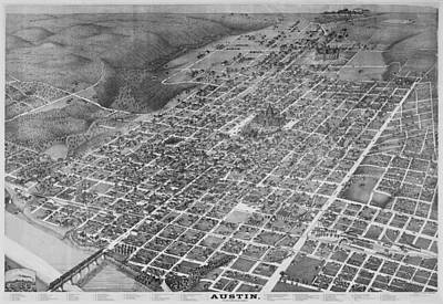 6th Street Photograph - Vintage 1887 Austin Texas Map by Stephen Stookey