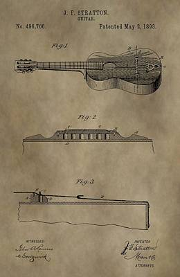 Digital Art - Vintage 1893 Guitar Patent by Dan Sproul