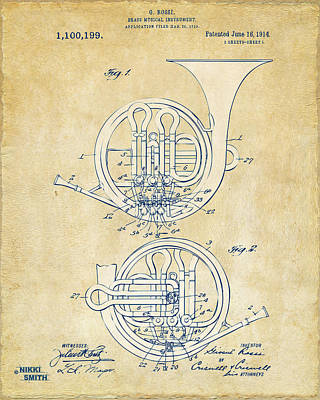 Marching Band Drawing - Vintage 1914 French Horn Patent Artwork by Nikki Marie Smith